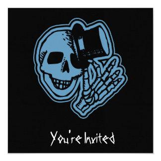 CUSTOM INVITES - Skull Top Hat Gentleman Blue