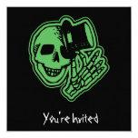 "CUSTOM INVITES - Skull Top Hat Gentleman Green 5.25"" Square Invitation Card"