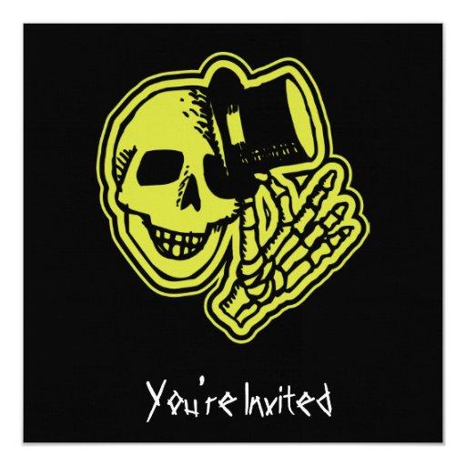 CUSTOM INVITES - Skull Top Hat Gentleman Yellow