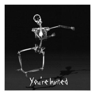 "CUSTOM INVITES - X-Ray Skeleton Joy Leap - B&W 5.25"" Square Invitation Card"