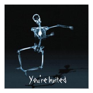 "CUSTOM INVITES - X-Ray Skeleton Joy Leap - Blue 5.25"" Square Invitation Card"