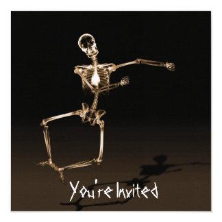 """CUSTOM INVITES - X-Ray Skeleton Joy Leap - Orange 5.25"""" Square Invitation Card"""