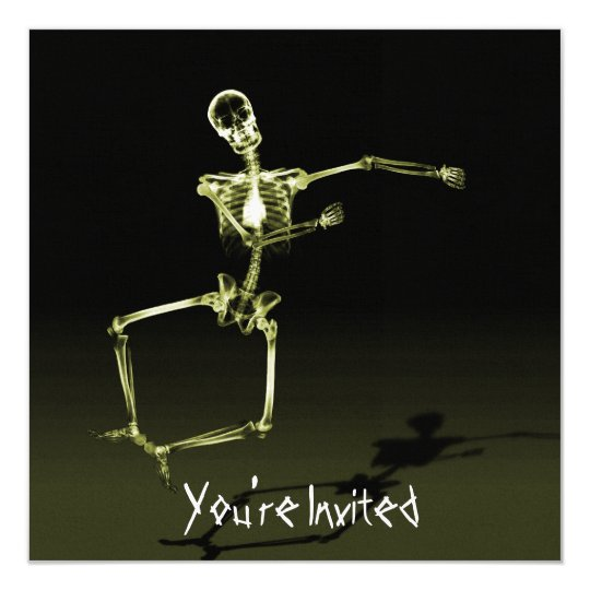 CUSTOM INVITES - X-Ray Skeleton Joy Leap - Yellow