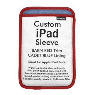 Custom iPad Mini Sleeve - (Barn Red & Cadet Blue)