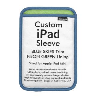 Custom iPad Mini Sleeve - Blue Skies & Neon Green