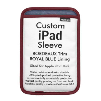Custom iPad Mini Sleeve - (Bordeaux & Royal Blue)