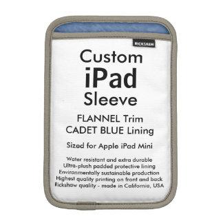 Custom iPad Mini Sleeve - (Flannel & Cadet Blue)