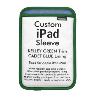Custom iPad Mini Sleeve - (Kelley Green & Blue)