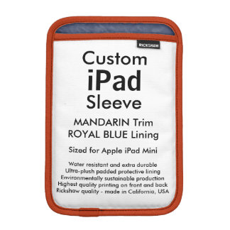 Custom iPad Mini Sleeve - (Mandarin & Royal Blue)
