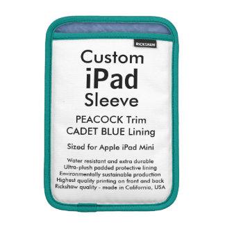 Custom iPad Mini Sleeve - (Peacock & Cadet Blue)