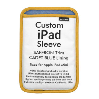 Custom iPad Mini Sleeve - (Saffron & Cadet Blue)