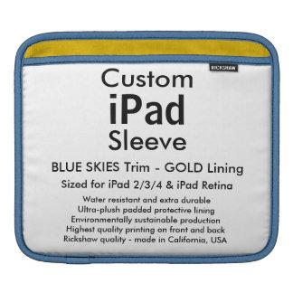 Custom iPad Sleeve - Horizontal Blue Skies & Gold