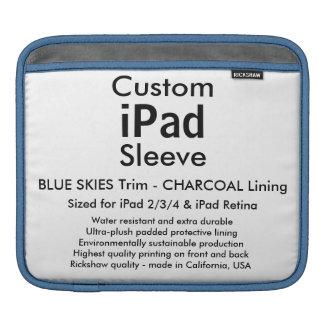 Custom iPad Sleeve - Horizontal Blue Skies & Gray