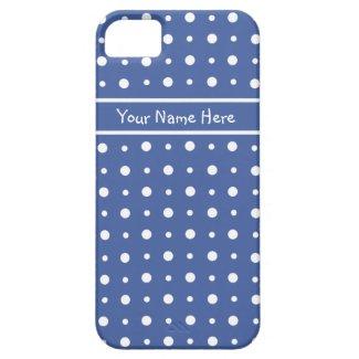 Custom iPhone 5 Case, Dark Blue Polka Dots