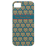 Custom iPhone 5 Case Red Hearts on Dark Teal