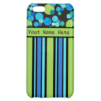 Custom iPhone 5C Case: Stripes and Blue Moons Cover For iPhone 5C