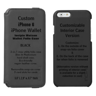 Custom iPhone 6 Watson™ Wallet Folio Case BLACK