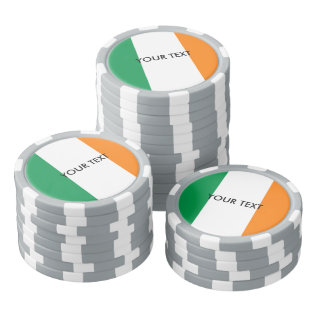 Custom Irish flag poker chips for Ireland at Zazzle