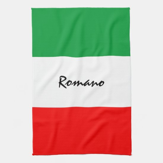 Custom Italian-American Flag Kitchen Towel