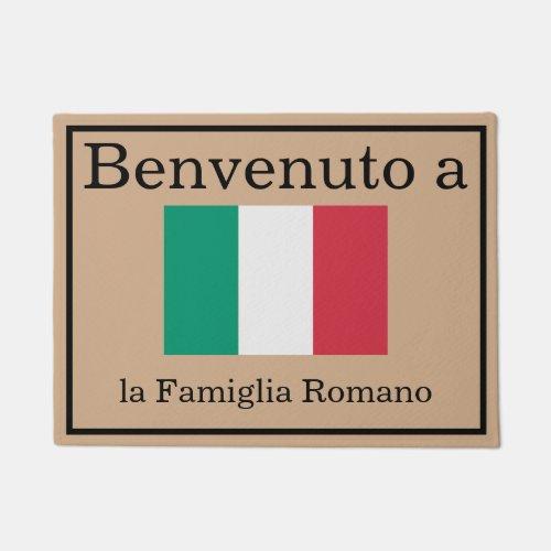 Custom Italian Flag la Famiglia Family Name Doormat