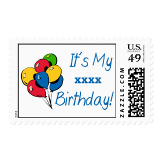 Custom It's My XXX Birthday! (Balloons Blue) Stamp