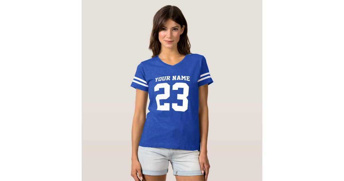 Custom jersey number blue womens football t shirt zazzle for Places to sell t shirts