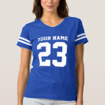 """Custom jersey number blue womens football t shirt<br><div class=""""desc"""">Custom jersey number blue womens football t shirt. Cute sports clothing for women and girls. Add your own name, team name , monogram letters and number. Pink and other colors. Fun fashion for fans of american football, basketball, soccer, baseball, hockey etc. Cool striped tees for players, cheerleaders, fans, tailgaters and...</div>"""