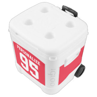 Custom jersey number cooler box on wheels | Red
