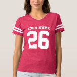 """Custom jersey number pink womens football t shirt<br><div class=""""desc"""">Custom jersey number pink womens football t shirt. Cute sports clothing for women and cheerleading girls. Add your own name, team name , monogram letters and number. Pink and other colors. Fun fashion for fans of american football, basketball, soccer, baseball, hockey etc. Cool striped tees for players, cheerleaders, fans and...</div>"""