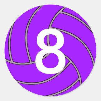 Custom Jersey Number Purple Volleyball Player/Team Classic Round Sticker