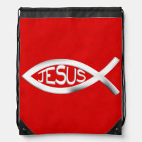 Custom Jesus Christian Fish Drawstring Backpack