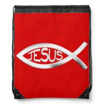 Custom Jesus Christian Fish Drawstring Bag