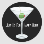 Custom Join Us For Happy Hour Bar Party Invitation Classic Round Sticker