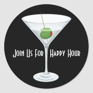 Custom Join Us For Happy Hour Bar Party Invitation Stickers