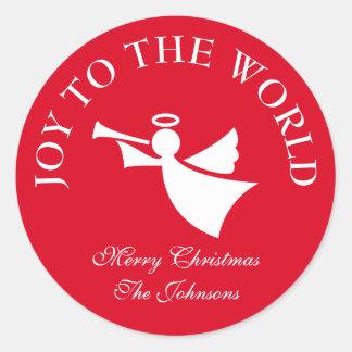 Custom joy to the world christmas angel stickers