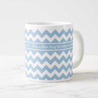 Custom Jumbo Coffee Mug, Blue and White Chevrons Extra Large Mugs