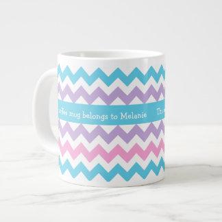 Custom Jumbo Coffee Mug, Multicolor Chevrons Extra Large Mugs