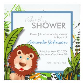Custom jungle lion baby shower card
