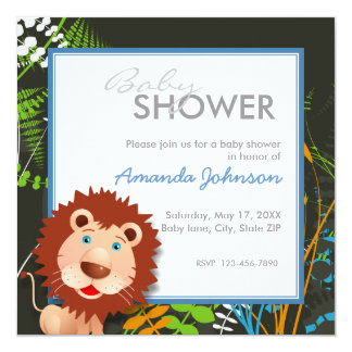 Custom jungle lion baby shower announcements