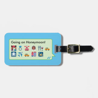 """Custom """"just married"""" emoticons phone message… luggage tag"""