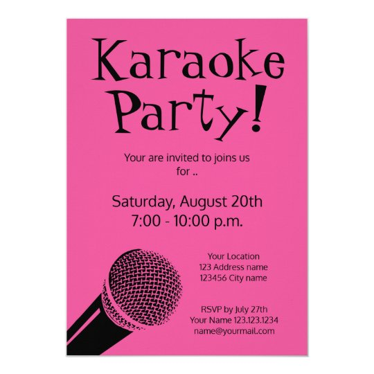Custom karaoke party invitations with microphone zazzle custom karaoke party invitations with microphone stopboris