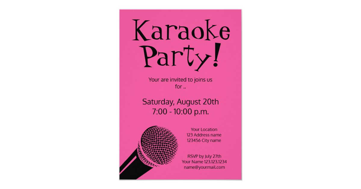 Custom karaoke party invitations with microphone | Zazzle.com