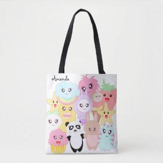 Custom kawaii doodle tote bag