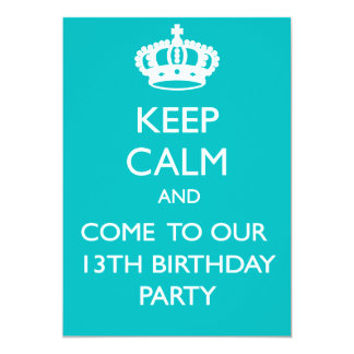 Custom Keep Calm 13th Birthday Card