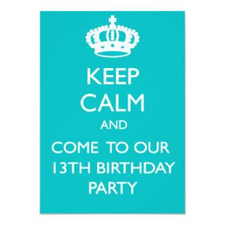 Custom Keep Calm 13th Birthday Card