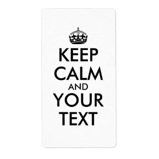 Custom Keep Calm Labels Add Your Text and Color