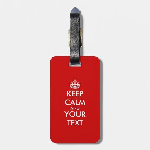 Custom Keep calm luggage tag | Customizable design