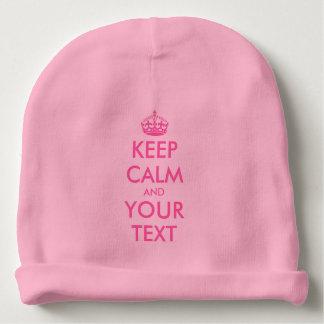 Custom keep calm pink baby hat for girls