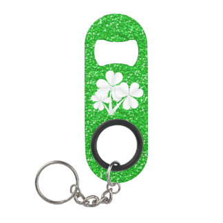 Custom•Kelly Green Glitter White Shamrocks Keychain Bottle Opener