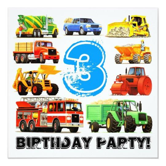 Custom Kid's 3rd Birthday Construction Truck Party Card